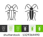 cockroach black linear and...   Shutterstock .eps vector #1329364490