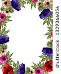 decorative frame of flowers and ... | Shutterstock .eps vector #1329366056