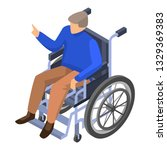 invalid man in wheelchair icon. ... | Shutterstock . vector #1329369383
