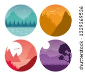 wanderlust landscape design | Shutterstock .eps vector #1329369536