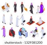 muslim isometric. arab 3d... | Shutterstock .eps vector #1329381200