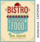 Vintage Bistro Poster. Vector...