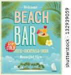 Vintage Beach Bar Poster....