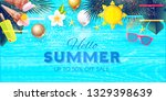 summer sale tropical background ... | Shutterstock .eps vector #1329398639