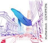 fantasy illustration. whale... | Shutterstock .eps vector #1329399296