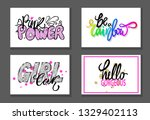 set of graffiti fonts slogans... | Shutterstock . vector #1329402113