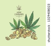 background with hemp  cannabis... | Shutterstock .eps vector #1329408023
