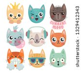 cute kittens. characters with... | Shutterstock .eps vector #1329412343