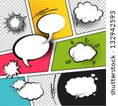 comic speech bubbles on a comic ... | Shutterstock .eps vector #132942593