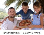 cute dad with children holding... | Shutterstock . vector #1329437996