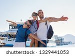 father with children are... | Shutterstock . vector #1329441053