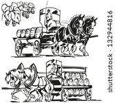 two beer wagons and a hop... | Shutterstock .eps vector #132944816