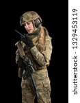 female soldier in tactical... | Shutterstock . vector #1329453119