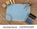 millimeter paper with draw... | Shutterstock . vector #1329455309