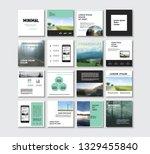 set of modern trendy magazine... | Shutterstock .eps vector #1329455840