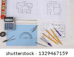 millimeter paper with drawing... | Shutterstock . vector #1329467159