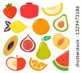 cute bright colors of fruits... | Shutterstock .eps vector #1329473186