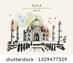 taj mahal in agra  india. old... | Shutterstock .eps vector #1329477329