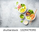 two assorted poke bowls with... | Shutterstock . vector #1329479390