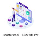 isometric man and cv resume... | Shutterstock .eps vector #1329481199