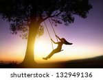 silhouette of happy young woman ... | Shutterstock . vector #132949136