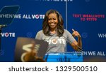Small photo of MIAMI, FLORIDA / UNITED STATES - SEPTEMBER 28, 2018: Former First Lady Michelle Obama encourages the University of Miami community to vote in the midterm elections.