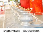 thai style aluminum rice bowl... | Shutterstock . vector #1329501086