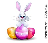 easter card with rabbit and... | Shutterstock .eps vector #132950753