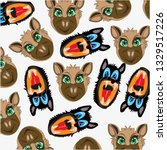 decorative pattern of wolf and...   Shutterstock .eps vector #1329517226