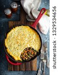 shepherds pie with ground meat  ...   Shutterstock . vector #1329534656