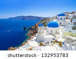 white architecture of oia... | Shutterstock . vector #132953783
