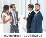 working group talking in the... | Shutterstock . vector #1329552503