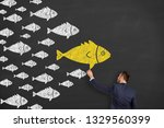 business person drawing... | Shutterstock . vector #1329560399