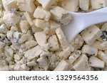 close view of crumbled blue... | Shutterstock . vector #1329564356