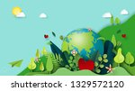 paper art of green nature and... | Shutterstock .eps vector #1329572120