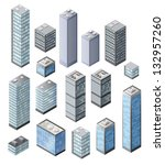 set of vector tall buildings in ... | Shutterstock .eps vector #132957260