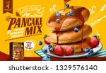 souffle pancake mix ads with... | Shutterstock .eps vector #1329576140