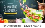 submarine sandwich ads with... | Shutterstock .eps vector #1329576143
