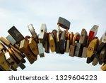 locks on bridge railing like...   Shutterstock . vector #1329604223