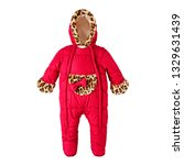 red baby girls snowsuit with... | Shutterstock . vector #1329631439