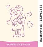 doodle family | Shutterstock .eps vector #132963653
