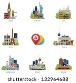 Vector global travel destinations icon set. Includes symbols and landmarks of London, UK; New York, USA, Rome, Italy; Paris, France; Berlin, Germany; Buenos Aires; Sydney, Australia and Beijing, China | Shutterstock vector #132964688