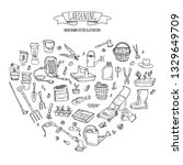 hand drawn doodle set of...   Shutterstock .eps vector #1329649709