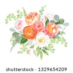 orange ranunculus  pink rose ... | Shutterstock .eps vector #1329654209