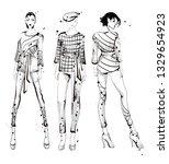 stylish fashion models. pretty... | Shutterstock .eps vector #1329654923