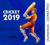 illustration of batsman playing ... | Shutterstock .eps vector #1329657953
