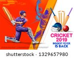 illustration of batsman playing ... | Shutterstock .eps vector #1329657980