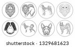 collection of drawings of dogs... | Shutterstock . vector #1329681623