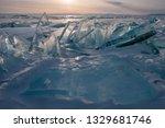 baikal is a lake of tectonic... | Shutterstock . vector #1329681746