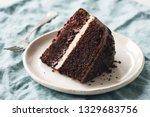 Dark Chocolate Cake Slice On...